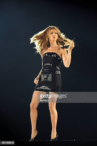 Celine Dion performs on stage at the Tokyo Dome on March 8 2008 in Tokyo Japan