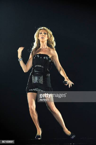 Celine Dion performs on stage at the Tokyo Dome on March 8, 2008 in Tokyo, Japan.