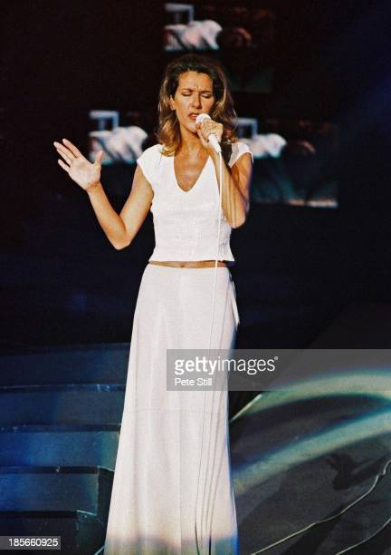 Celine Dion performs on stage the Birmingham NEC on November 22nd 1996 in Birmingham England