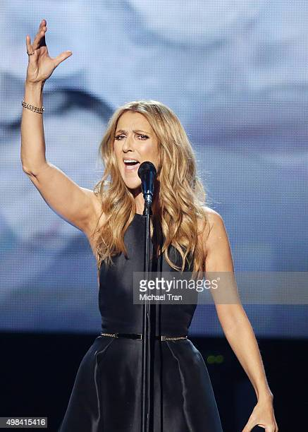 Celine Dion performs onstage during the 2015 American Music Awards held at Microsoft Theater on November 22, 2015 in Los Angeles, California.