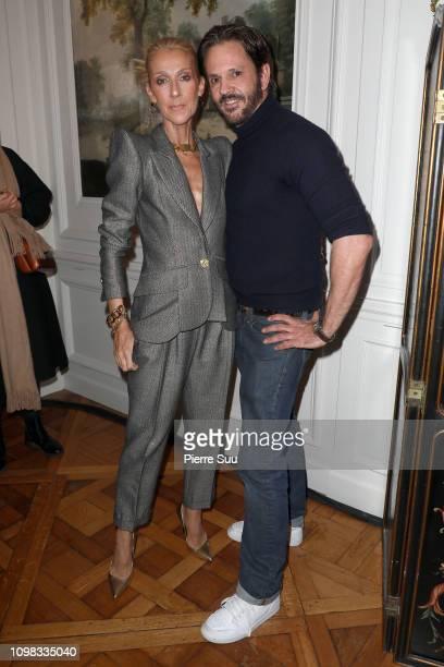 Celine Dion poses with stylist Ronald Van Der Kemp at the RVDK Ronald Van Der Kemp Haute Couture Spring Summer 2019 show as part of Paris Fashion...