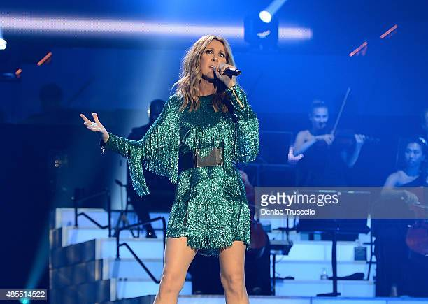 Celine Dion premieres the much-anticipated return of her headline residency show at The Colosseum at Caesars Palace on August 27, 2015 in Las Vegas,...