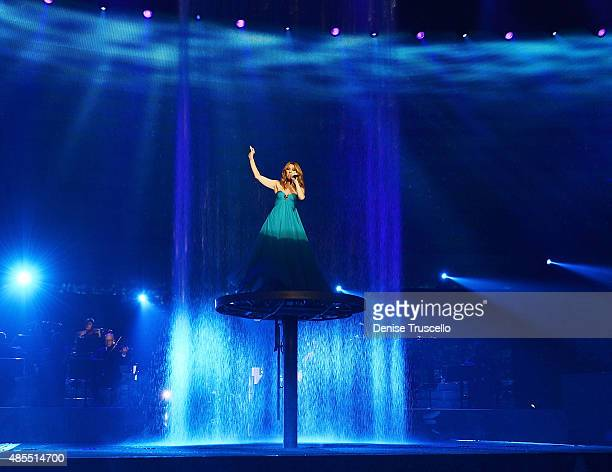 Celine Dion premieres the muchanticipated return of her headline residency show at The Colosseum at Caesars Palace on August 27 2015 in Las Vegas...