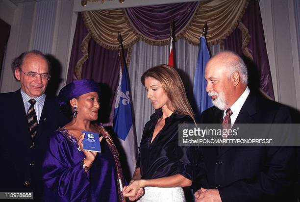 Celine Dion Receives Unesco Artist For Peace Title In Montreal Canada On December 15 1999Ndeye Fall