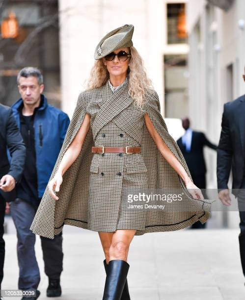 Celine Dion seen on the streets of Lower Manhattan on March 5, 2020 in New York City.