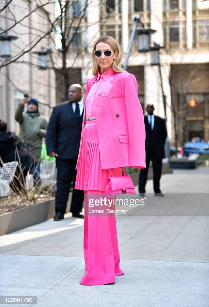 Celine Dion seen on the streets of Lower Manhattan on March 7, 2020 in New York City.