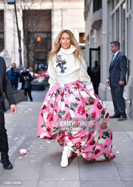 Celine Dion seen on the streets of Lower Manhattan on March 8, 2020 in New York City.