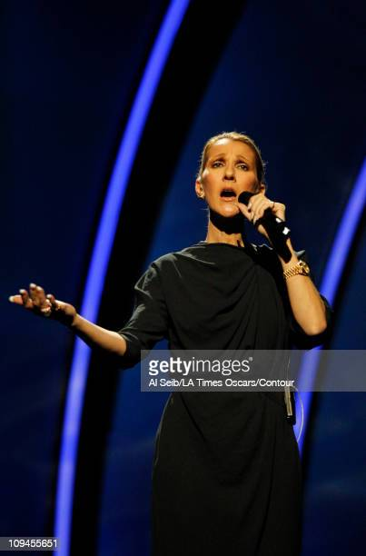 APPLY*** Celine Dion sings 'Smile' during rehearsal on stage in the Kodak Theatre on February 25 2011 in Hollywood California Preparations and...