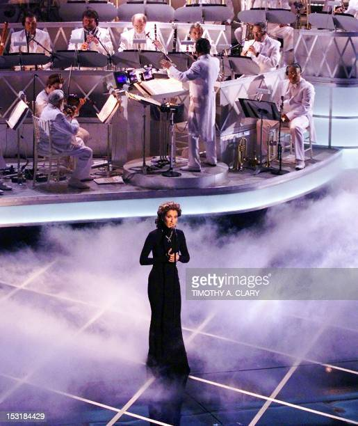 Celine Dion sings the song from the movie Titanic My Heart Will Go On during the 70th Academy Awards at the Shrine Auditorium 23 March My Heart Will...
