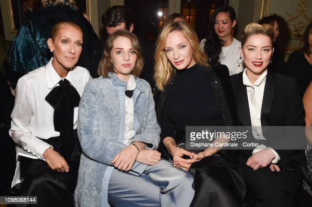 Celine Dion Uma Thurman Maya Hawke and Amber Heard attend the Giorgio Armani Prive Haute Couture Spring Summer 2019 show as part of Paris Fashion...