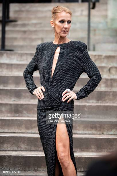 Celine Dion wearing a long decorated black dress is seen outside Alexandre Vauthier show during Paris Fashion Week Haute Couture Spring Summer 2019...