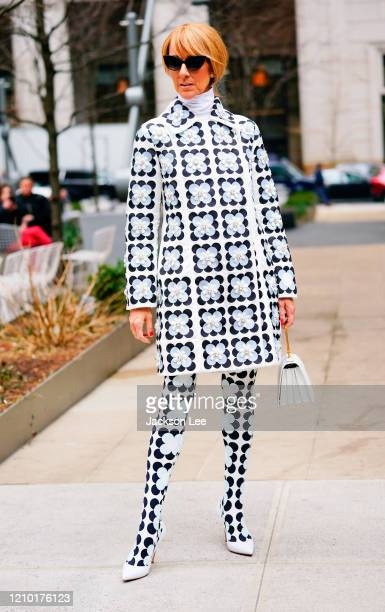 Celine Dion wears Moncler Richard Quinn Fall 2020 on March 03 2020 in New York City