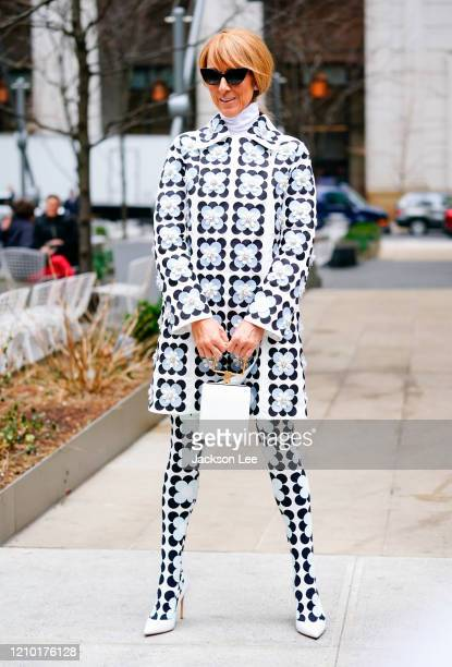 Celine Dion wears Moncler Richard Quinn Fall 2020 on March 03, 2020 in New York City.