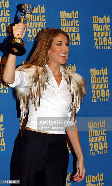 Celine Dion winner of the Diamond Award during 2004 World Music Awards Press Room at Thomas and Mack Center in Las Vegas Nevada United States