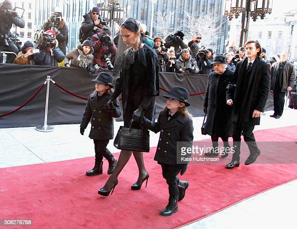 Celine Dion with children Nelson Angelil ReneCharles Angelil Eddy Angelil and mother Therese Dion attend a state funeral service for Celine Dion's...