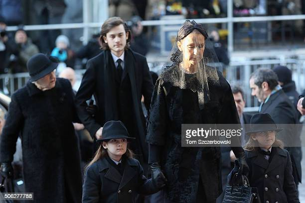 Celine Dion with children Nelson Angelil ReneCharles Angelil Eddy Angelil and mother Therese Dion attend the State Funeral Service for Celine Dion's...