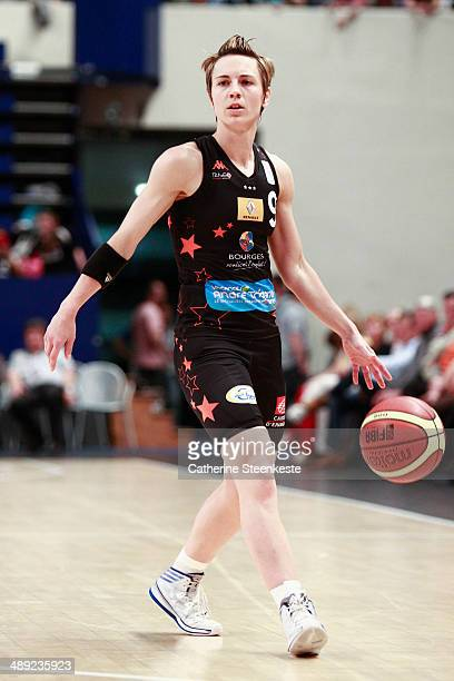 Celine Dumerc of Bourges Basket is looking to pass the ball during the game between ESB Villeneuve d'Ascq and Bourges Basket at Stade Pierre de...