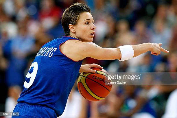 Celine Dumerc of France calls out a play in the second quarter while taking on the United States during the Women's Basketball Gold Medal game on Day...