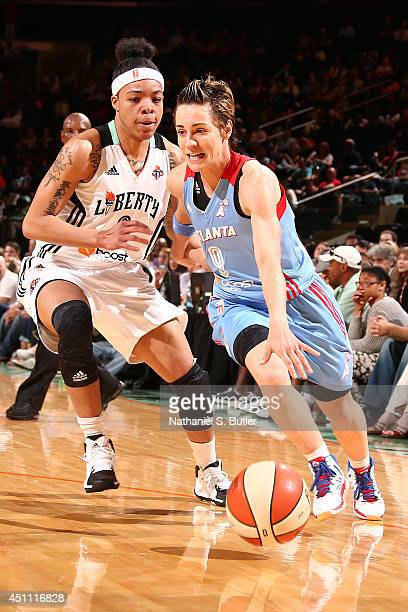 Celine Dumerc of the Atlanta Dream handles the ball against the New York Liberty during a game at Madison Square Garden in New York City on June 22...