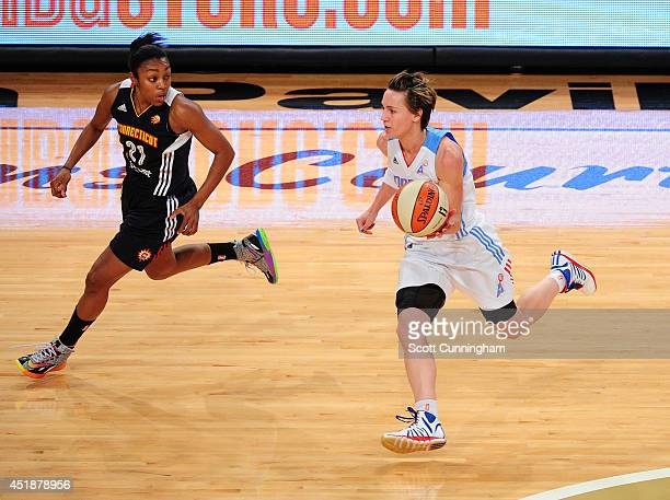 Celine Dumerc of the Atlanta Dream handles the ball against the Connecticut Sun on July 8 2014 at McCamish Pavilion in Atlanta Georgia NOTE TO USER...