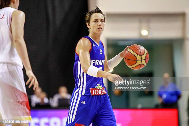 Celine Dumerc of the French Basketball Women's National Team calls for a play during the game between France and China at Stade Pierre de Coubertin...