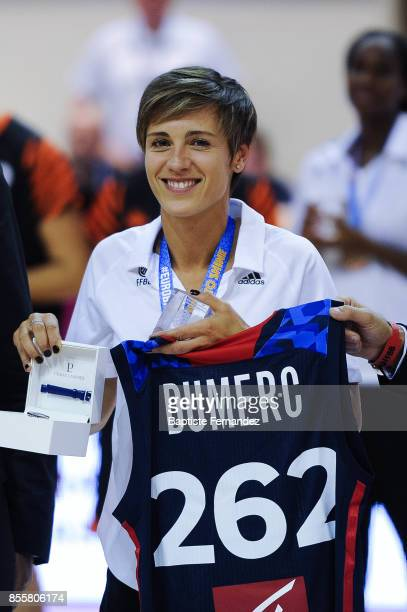 Celine Dumerc received an honoring price before the Women's League match between Villeneuve d'Ascq and Bourges of the LFB Open 2017 on September 29...