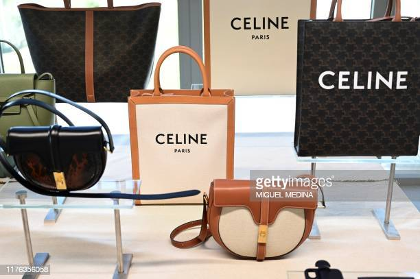 """Celine handbags are displayed at """"La Manufacture"""", Celine's new factory in Radda in Chianti, south of Florence, Tuscany, on October 17, 2019 on its..."""