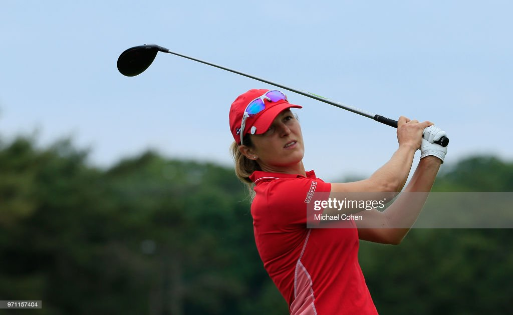 Celine Herbin of France hits her drive on the fourth hole during the third and final round of the ShopRite LPGA Classic Presented by Acer on the Bay Course at Stockton Seaview Hotel and Golf Club on June 10, 2018 in Galloway, New Jersey.