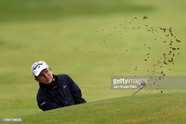 Celine Herbin of France in action during a practice session ahead of the AIG Women's Open at Royal Troon on August 17, 2020 in Troon, Scotland.