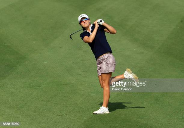 Celine Herbin of France plays her second shot on the par 4 14th hole during the final day of the 2017 Dubai Ladies Classic on the Majlis Course at...