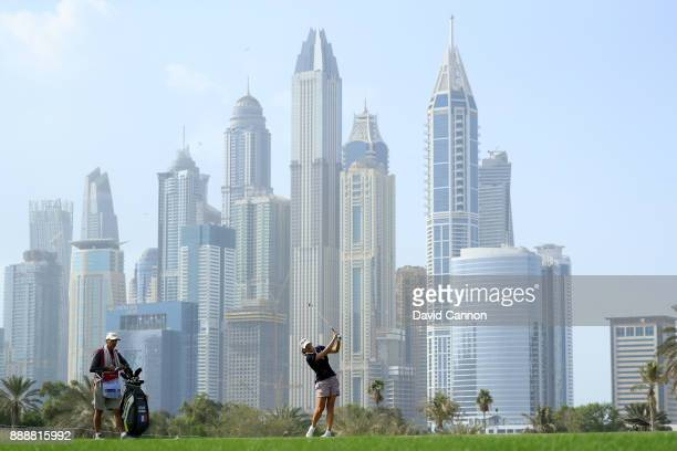 Celine Herbin of France plays her second shot on the par 5 13th hole during the final day of the 2017 Dubai Ladies Classic on the Majlis Course at...