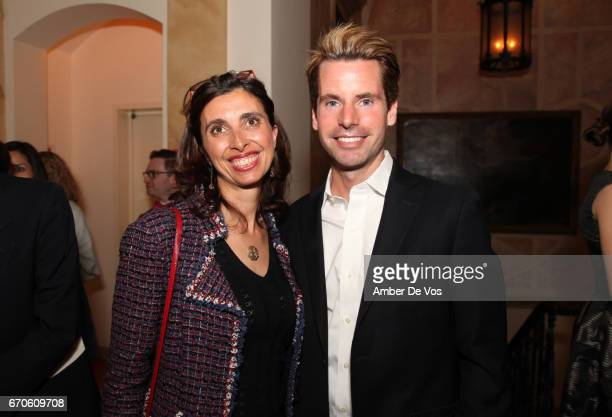 Celine Mazieres and James G Brooks Jr attend the FIAF and Carnegie Hall Young Patrons Spring Concert Cocktail at the French Consulate on April 19...