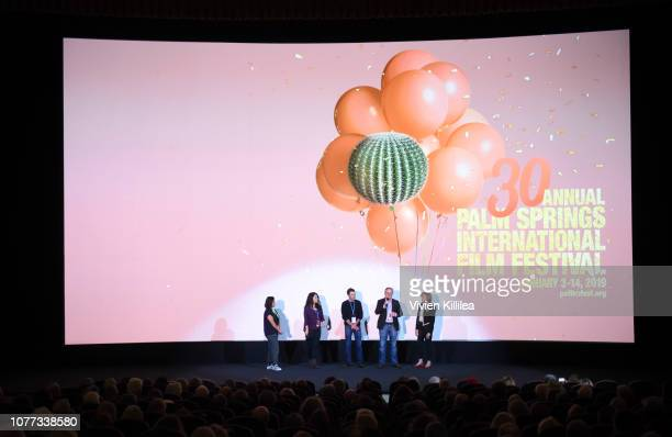Celine Roustan Dava Whisenant Ozzy Inguanzo Steve Young and Melody Rogers attend a screening of Bathtubs Over Broadway at the 30th Annual Palm...