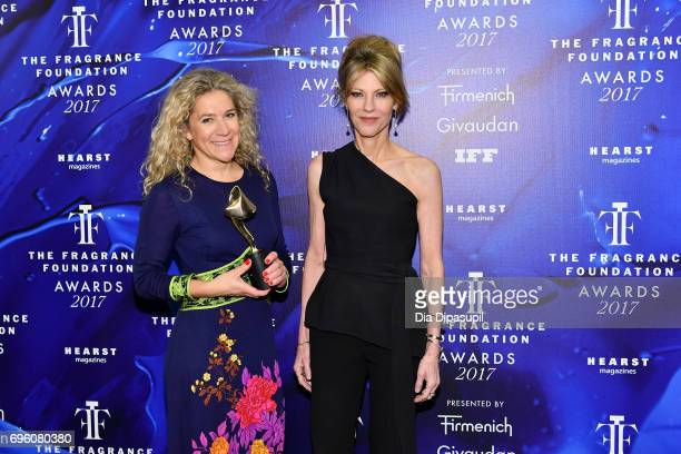Celine Roux and Robbie Myers pose backstage at the 2017 Fragrance Foundation Awards Presented By Hearst Magazines at Alice Tully Hall on June 14 2017...