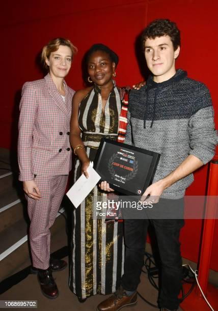 Celine Salette 'J' Avais 9 Ans' actress Agathe Ouedraogo and director Matteo Dugast Coup de Coeur France awarded attend the 'Mobile Film Festival...