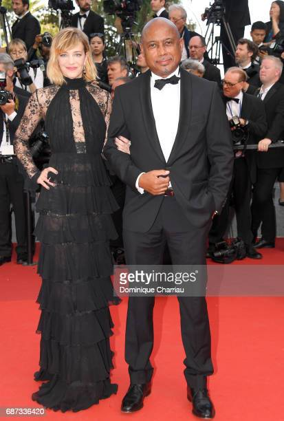 Celine Sallette and a guest attend the 70th Anniversary screening during the 70th annual Cannes Film Festival at Palais des Festivals on May 23 2017...
