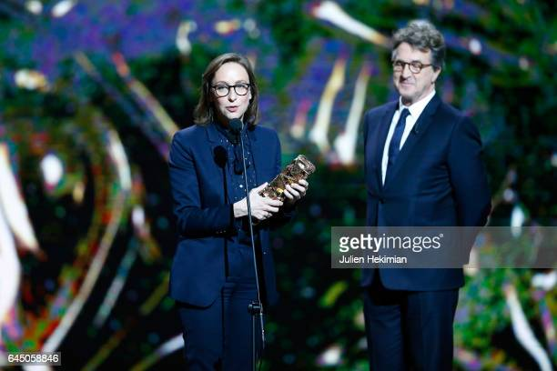 Celine Sciamma speaks on stage after she receives the Cesar of Best Adapted Screenplay for 'Ma vie de courgette' on stage during the Cesar Film...