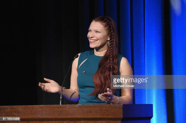 Celine Tricart speaks onstage at the Advanced Imaging Society 2018 Lumiere Awards presented by Dell and Cisco at Steven J Ross Theatre on February 12...