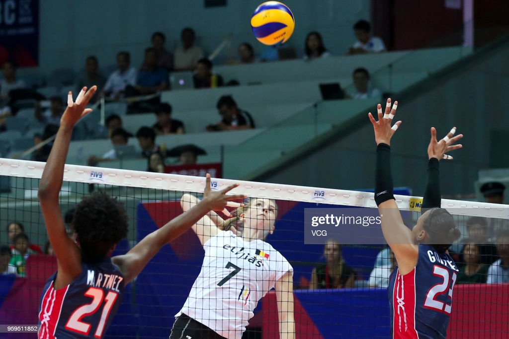 Celine Van Gestel #7 of Belgium competes against Gaila Ceneida Gonzalez Lopez #23 of the Dominican Republic during the FIVB Volleyball Nations League 2018 at Beilun Gymnasium on May 17, 2018 in Ningbo, China.