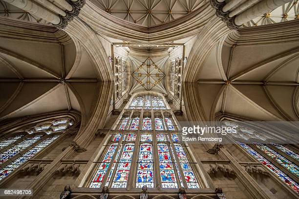 celing of the york minster - york minster stock photos and pictures