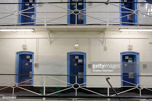 Cell doors over two floors on E wing at Wandsworth Prison HMP Wandsworth in South West London was built in 1851 and is one of the largest prisons in...
