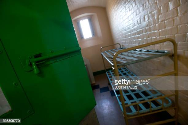 A cell is pictured inside Reading prison during an exhibition photocall at the prison in Reading west of London on September 1 2016 Having closed...