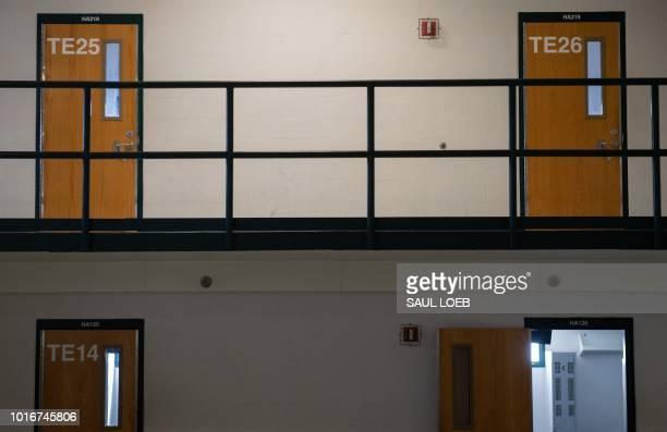 Cell room doors are seen at the Caroline Detention Facility in Bowling Green Virginia on August 13 2018 A former regional jail the facility has been...