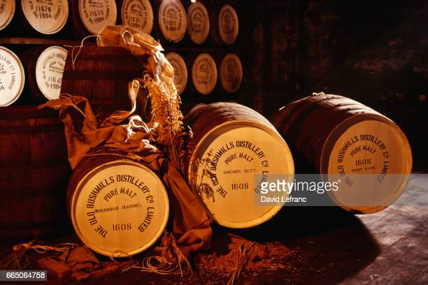 Cellar and barrels of the Bushmills Distillery in Ireland Images and captions taken from the book La Magie du Whiskey