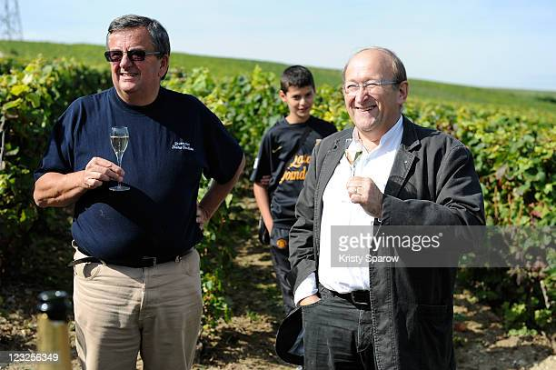 Cellar chief Jean Pierre Vincent and Nicolas Feuillate CEO Dominique Pierre enjoy a glass of champagne at the Nicolas Feuillatte Vendanges at Nicolas...
