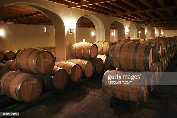 Cellar inside of Château de Myrat protected designation of origin of wine of Sauternes on March 17 2011 in Barsac near Bordeaux Located on the...