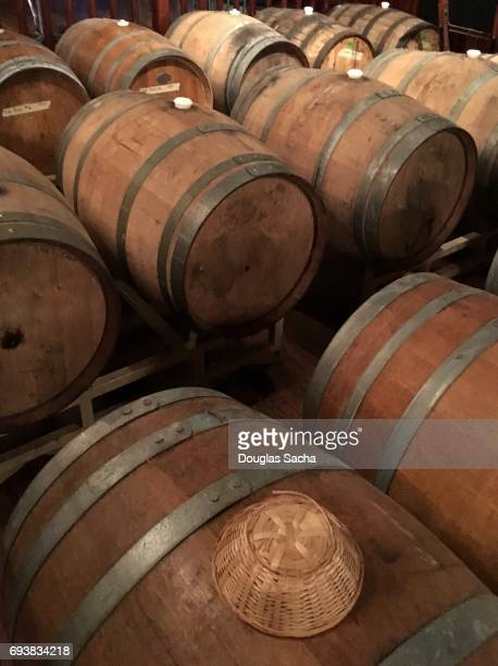Cellar with Oak barrels of wine