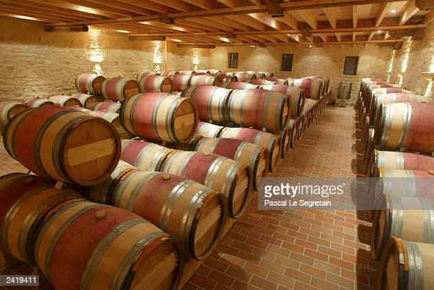 Cellars of the Saint Emilion Grand Cru Classe ' Chateaux Grand Mayne' August 22 2003 in Saint Emilion outside Bordeaux Harvesting of some of France's...