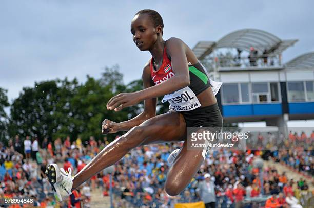 Celliphine Chepteek Chespol from Kenya competes in women's 3000 metres steeplechase during the IAAF World U20 Championships at the Zawisza Stadium on...