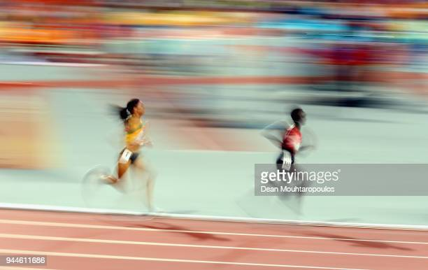 Celliphine Chepteek Chespol of Kenya and Aisha Praught of Jamaica compete in the Women's 3000 metres Steeplechase final during athletics on day seven...